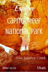 Explore Capitol Reef National Park. Hike Capitol Reef National Park. Hike Sulphur Creek in Capitol Reef National Park. Hike Utah.