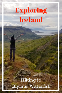 Hiking in Iceland. Hiking to Glymur Waterfalls. Exploring Iceland. Waterfall in Iceland.